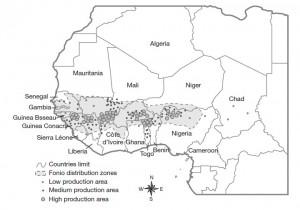 Aire de production du fonio en Afrique de l'Ouest (Vodouhè et al., 2007)