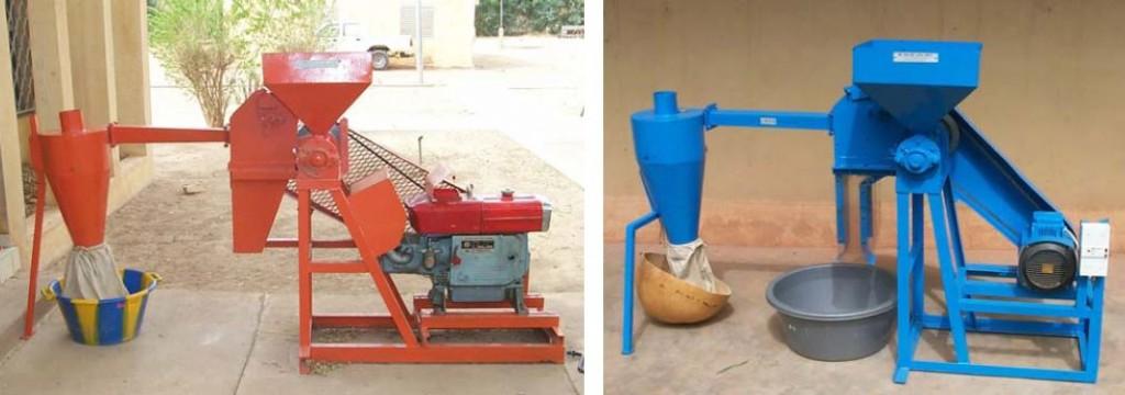 Décortiqueuses de fonio GMBF, à gauche la version Diesel, à droite la version électrique